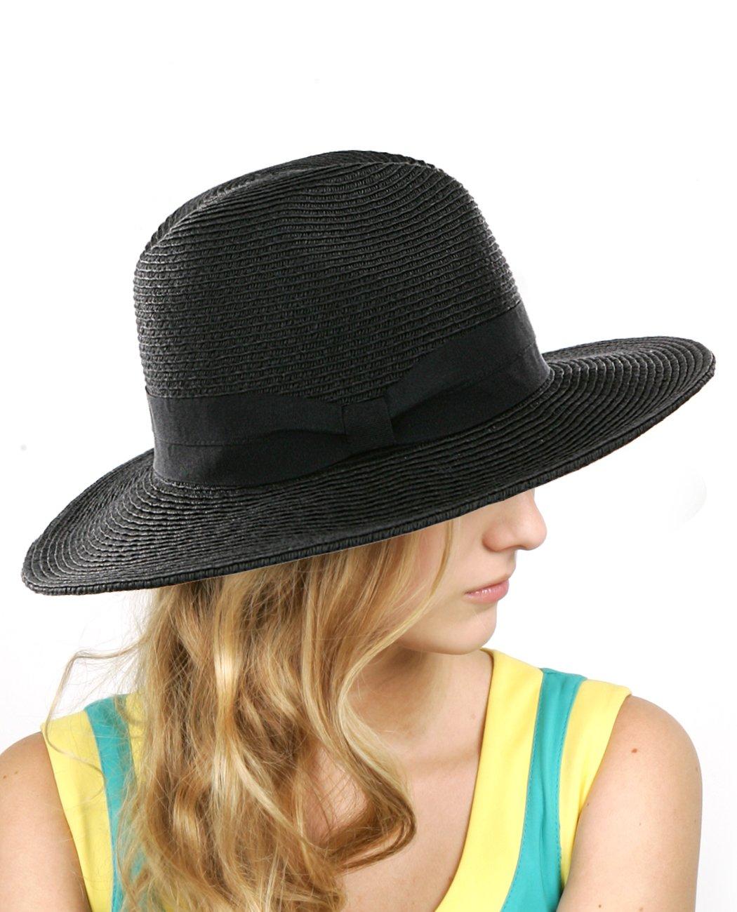 NYFASHION101 Lightweight Solid Color Panama Fedora Sun Hat, Black