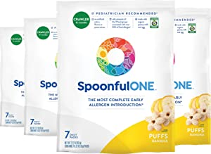 SpoonfulOne Early Allergen Introduction Puffs   Smart Feeding Snack for an Infant or Baby 6+ Months   Certified Organic (Banana - 28 Pack)