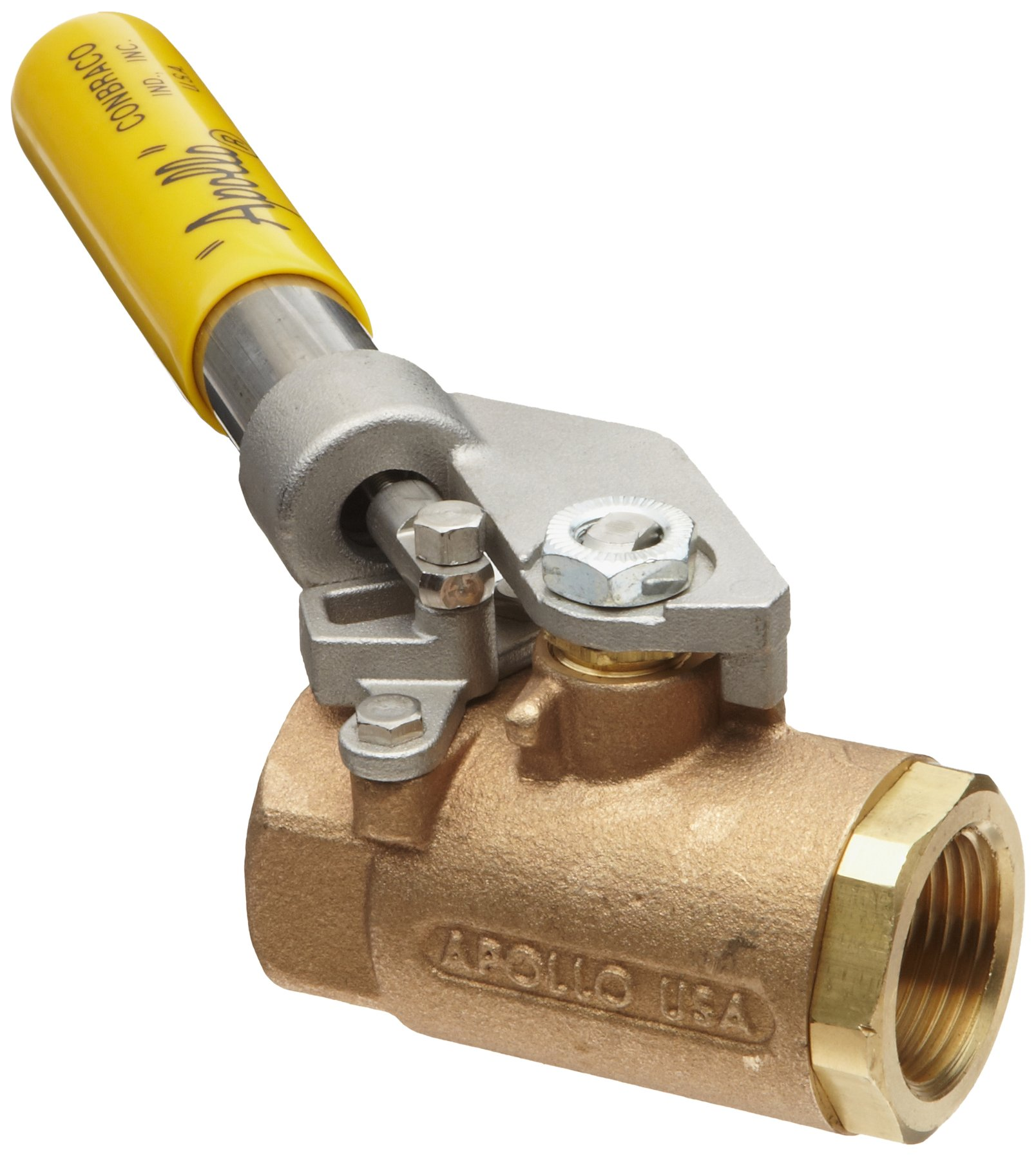 Apollo 71-500 Series Bronze Ball Valve, Two Piece, Inline, Spring-Close Lever, 3/4'' NPT Female by Apollo Valve (Image #1)