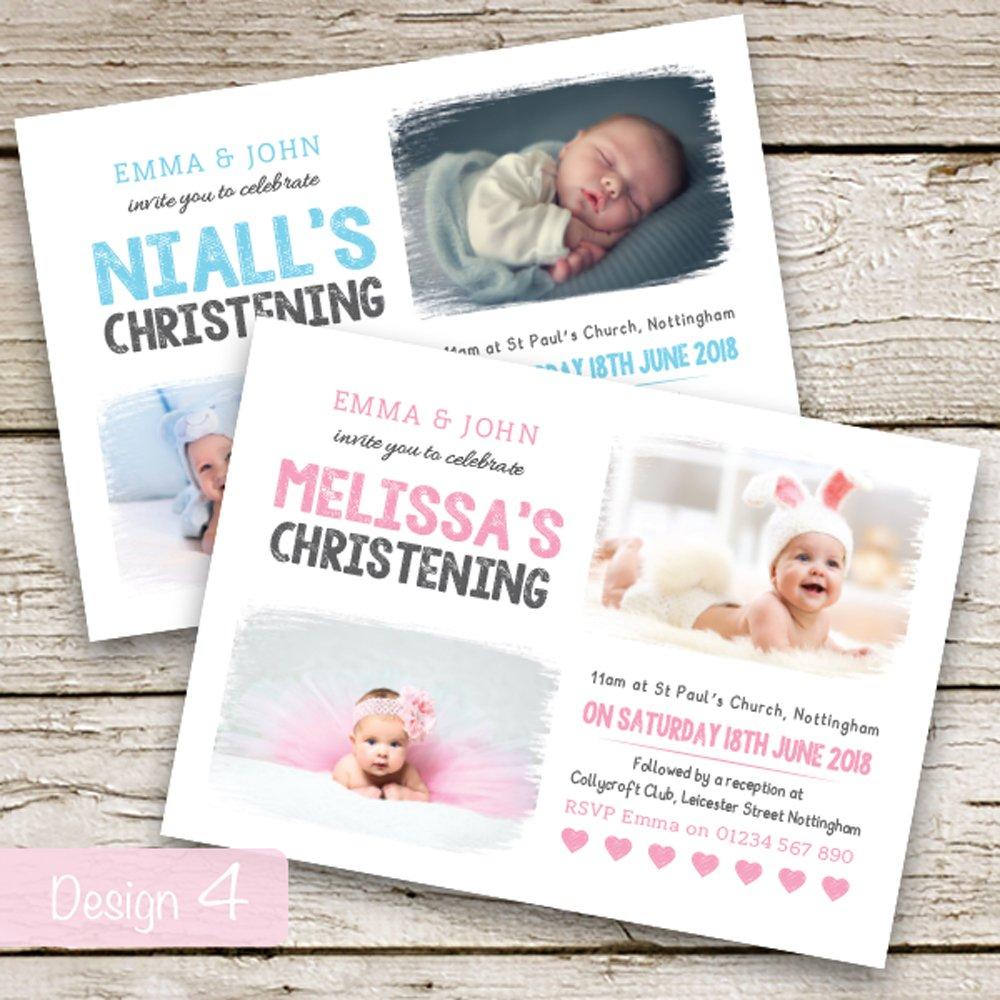 personalised photo christening baptism invitations boy or girl
