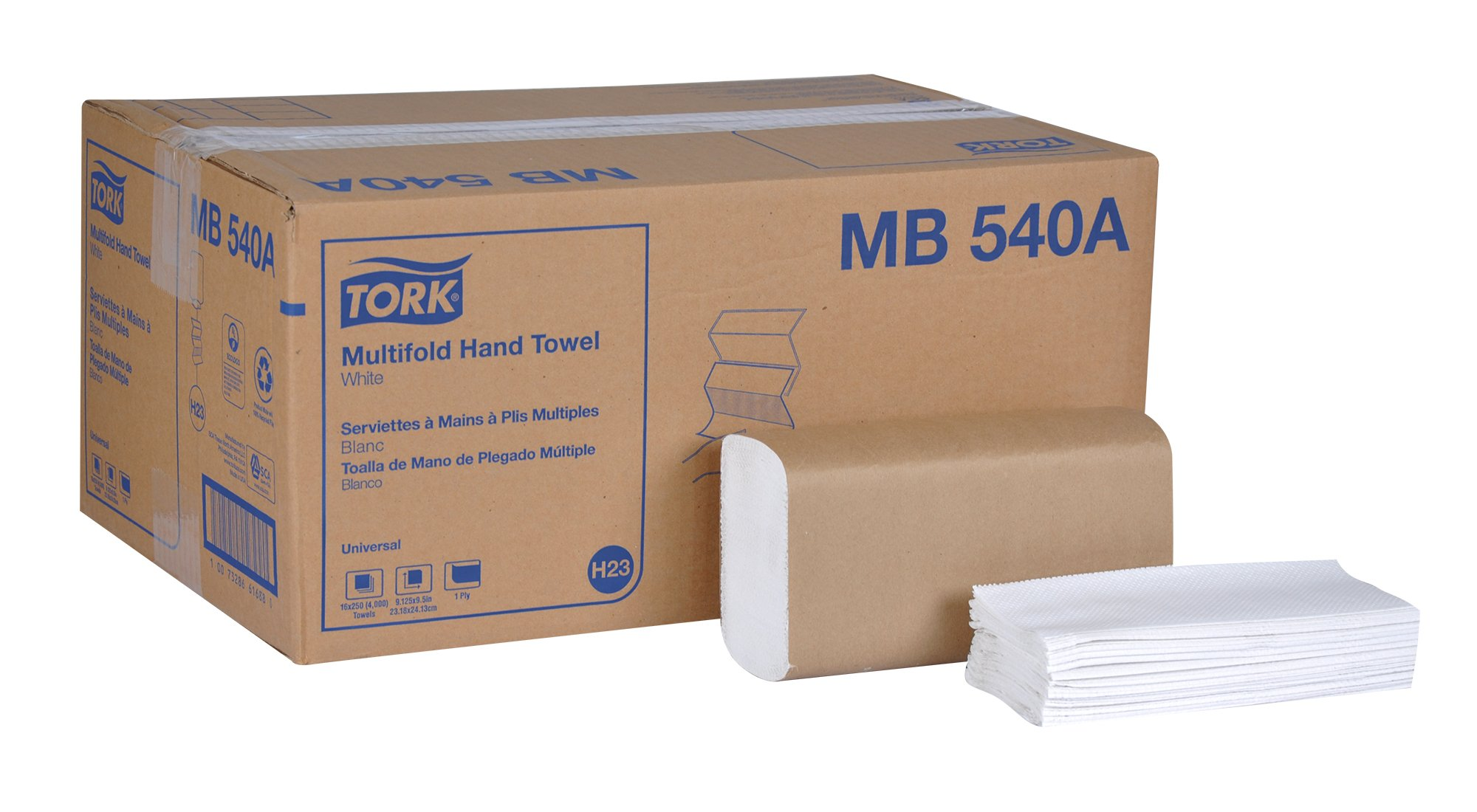 Tork Universal MB540A Multifold Paper Hand Towel, 1-Ply, 9.5'' Width x 9.13'' Length, White, (Case of 16 Packs, 250 per Pack, 4,000 Towels)