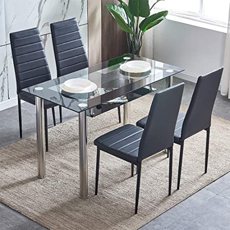 Chair Black Glass Dining Table