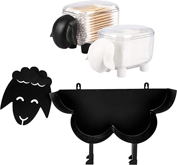 East World Sheep Toilet Paper Holder – Cut and Fun Toilet Roll Holder Sheep with 2 Matching Sheep Storage Box - Funny Toilet Accessories - Decorative Toilet Paper Holder Stand for 7-8 Rolls V3