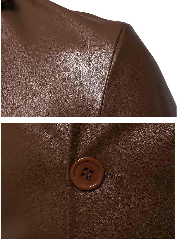 Nidicus Mens Retro PU Leather Blazer Smart Notched Lapel 2 Button Jacket