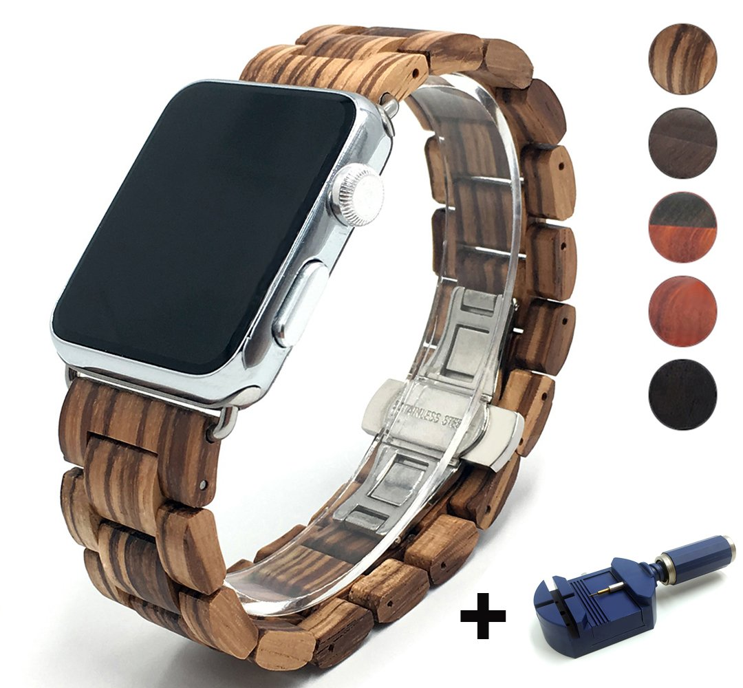 Seoaura Compatible Apple Watch Band 42mm 44mm, Natural Handmade Wooden Replacement iWatch Series 4 3 2 1 Sports Strap Wristband - Link Remover as a Gift (Zebrawood, 42mm/44mm)