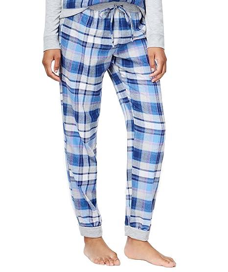 06d342a6df Jenni by Jennifer Moore Women s Plaid Flannel Jogger Pajama Pants (Navy  Plaid