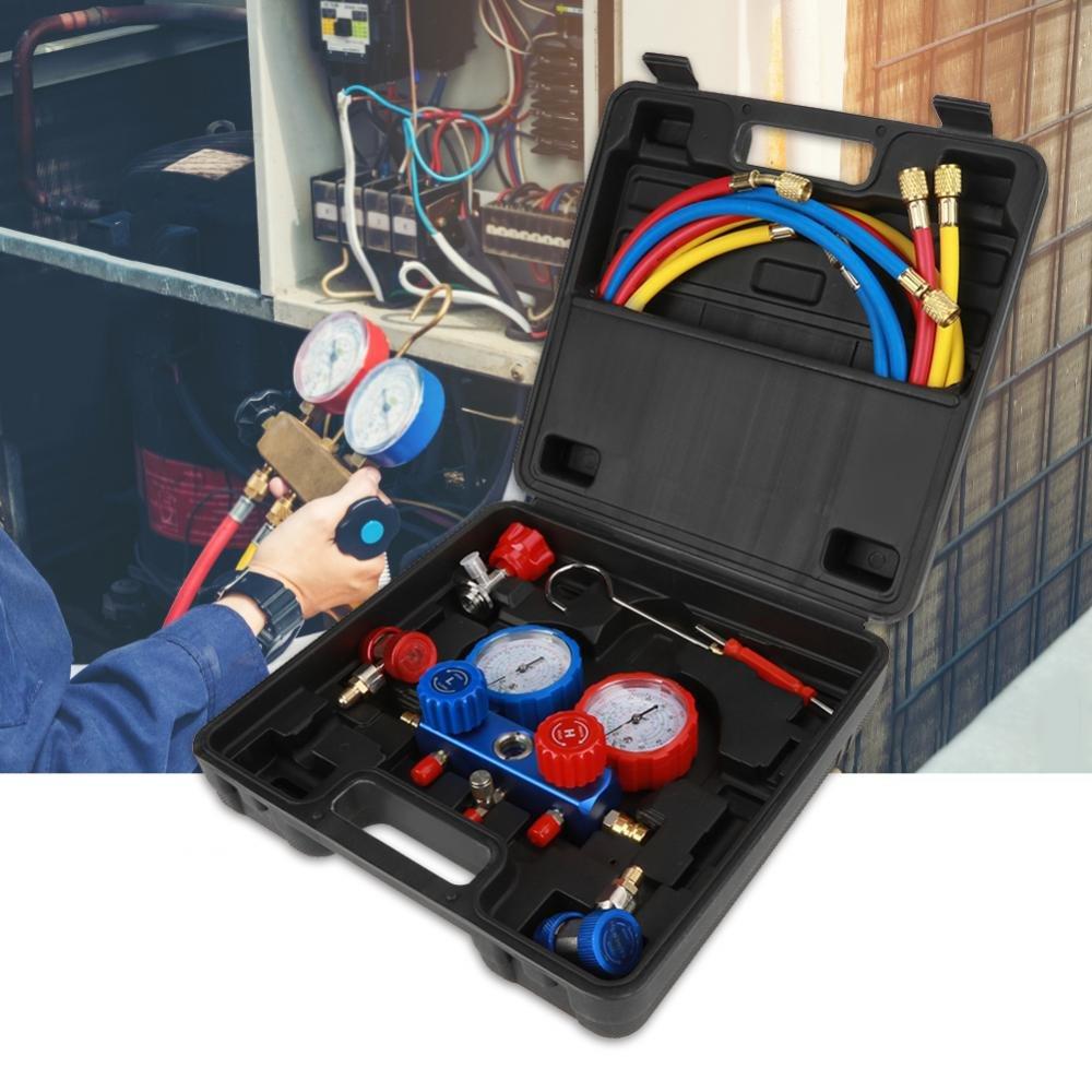 Manifold Gauge Kit Manometro Tubi a 3 vie per gas refrigerante,R134a AC Refrigerante,Kit diagnostico manometro GOTOTOP