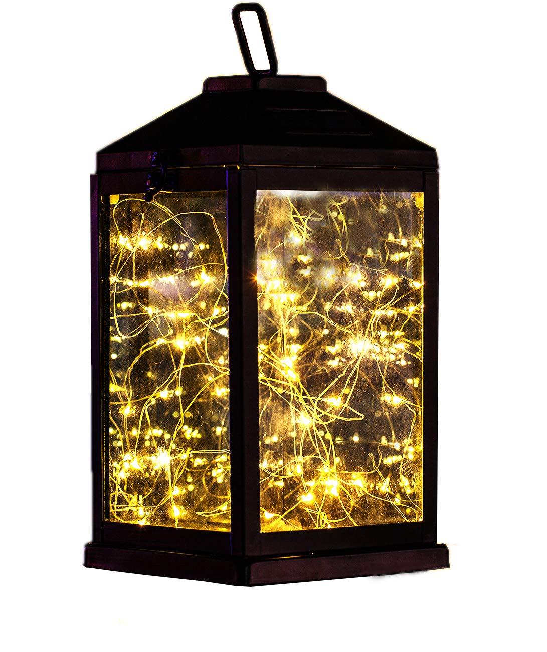 Solar Lantern Lights Metal Sunwind with 30 Warm White LEDs Fairy String Lights Outdoor Decorative Table Lamp (Black-11.4''H)