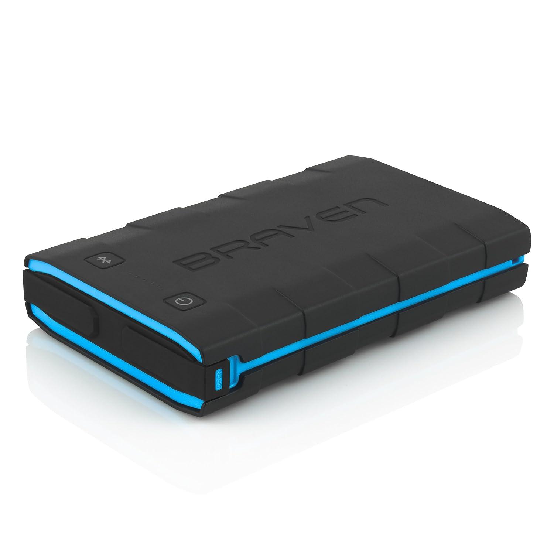 Braven BRVPBB08 BRV-Bank spritzwassergeschützter Akku mit Taschenlampe und Bluetooth für Smartphone/Tablet (6000mAh) schwarz/cyan