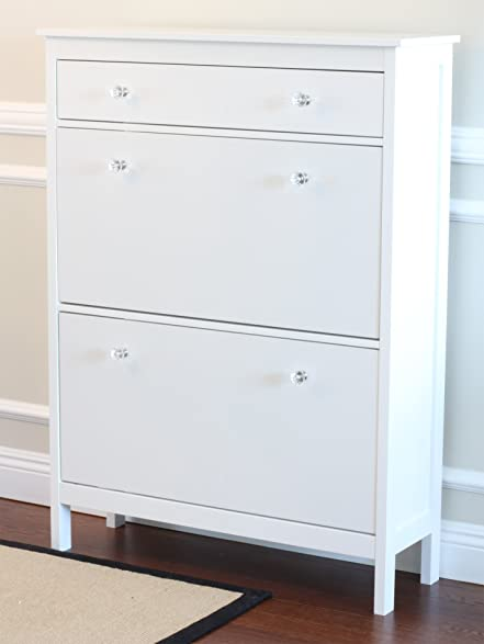 Amazon.com: Shoe Cabinet with Storage Drawer in White Finish ...