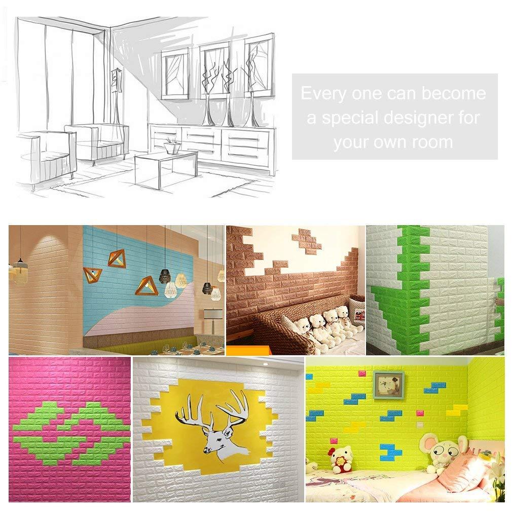 KINLO 5 Piezas 77 x 70 cm Pegatina de Pared 3D PE Espuma DIY 3D Ladrillo Pegatina Pared Sticker Autoadhesivo Wall Paneles Impermeable Azulejos de la Pared ...