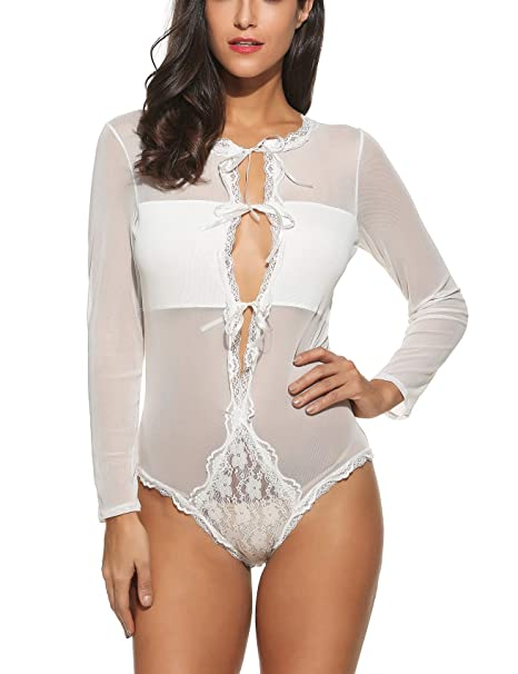 907244cbabed Avidlove Women Sexy Long Sleeve Bandage Bodysuits Jumpsuits Lace lingerie  White S