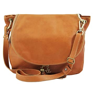 Tuscany Leather TLBag Borsa morbida a tracolla con nappa Beige  Amazon.it   Scarpe e borse 538922b8bc6