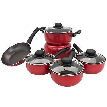 Illa Alegria 9 pieza antiadherente sartén/un cazo/plato de la cazuela de utensilios de cocina - 20cm - Rojo: Amazon.es: Hogar