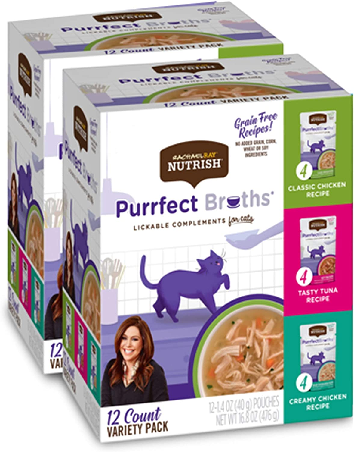 Rachael Ray Nutrish Purrfect Broths Natural Wet Cat Food, Variety Pack, 1.4 Ounce Pouch (Pack of 24), Grain Free
