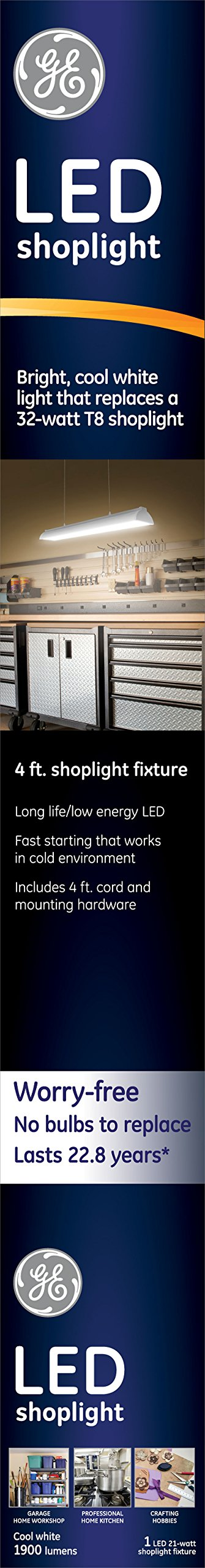 GE Lighting 4-Foot LED Shop Light with Power Cord, Flush Mount, Includes Hanging Accessories, 1900-Lumens, Cool-White