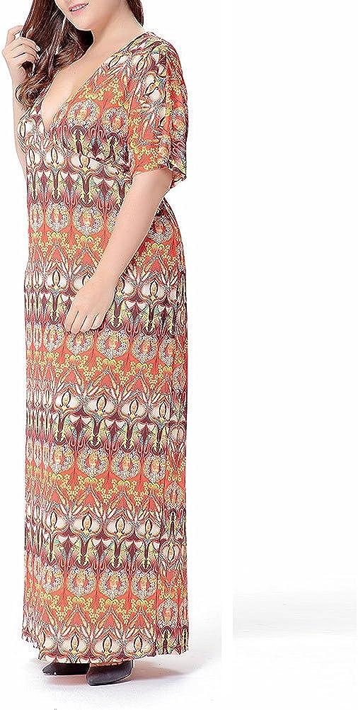 Zhuhaitf Casual Slim Women Dress Holiday Printing Design Vacation Long Dresses