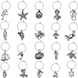 50 Piece Beach Themed Wine Glass Charms with 50 Pieces Hanging Rings and 2 Pieces Buckles for Wine Tasting Party…