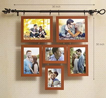 Art Street Chandeliers Hanging With Rod Pure Wood Photo Frame Brown
