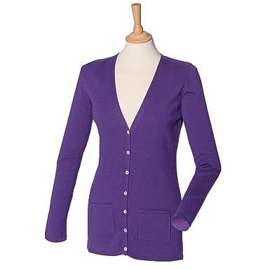 38945184c9 Henbury Ladies V Neck Cardigan H723 Purple S  Amazon.co.uk  Clothing