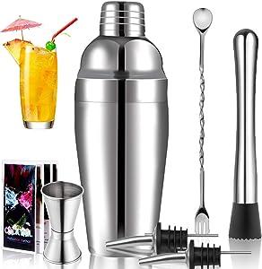Cocktail Shaker Set Drink Mixer: 25 oz Stainless Steel martini shaker, Mixing Spoon, Muddler, Measuring Jigger, 2 Liquor Pourers and Manual of Recipes, Professional Bar Set Bartender Kit
