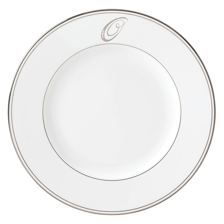 O Lenox Federal Platinum Script Monogram Dinnerware Dinner Plate