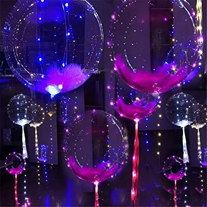 Inf Way 5pcs 18 Inch Clear Foil Helium Bobo Balloons With Copper LED Light