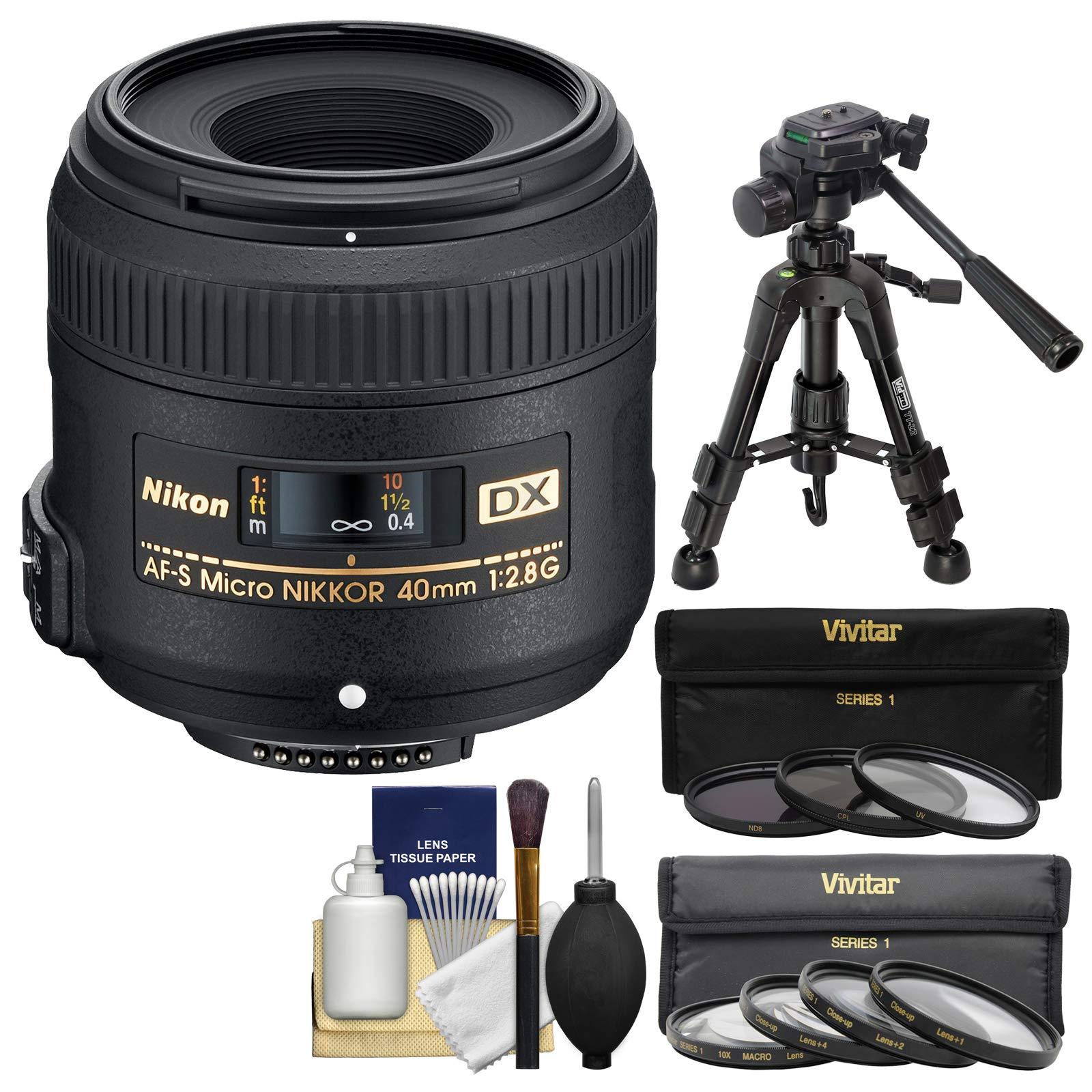 Nikon 40mm f/2.8 G DX AF-S Micro-Nikkor Lens + 7 UV/CPL/ND8 & Close-Up Filters + Macro Tripod Kit for D3200, D3300, D5300, D5500, D7100, D7200 Cameras