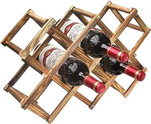 Callenbach Wine Rack Countertop, Wine Bottle Holder Table Wine Racks Freestanding Floor, Wooden Foldable 10 Bottles Wine Storage for Wine Cabinet, Home Kitchen, Dining Room, Pantry, Wine Cellar, Bar