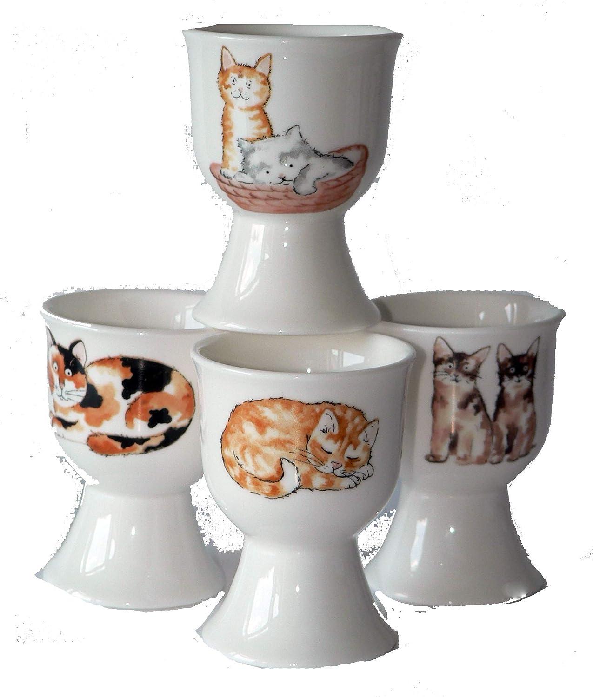 crackinchina Cat egg cups eggcup porcelain set of 4 boxed