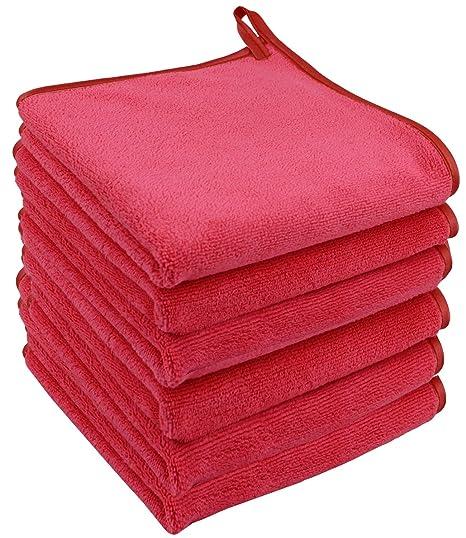 Toalla para desmaquillar y limpiadora Facial Make-up paño de Limpieza Facial Make up Remover Cloth se sólo USA con Agua 30 cm x 30cm 6 Unidades Rosa