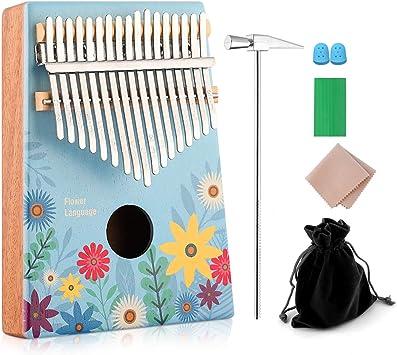 Amazon.com: Kalimba 17 teclas de pulgar piano dedo piano con ...