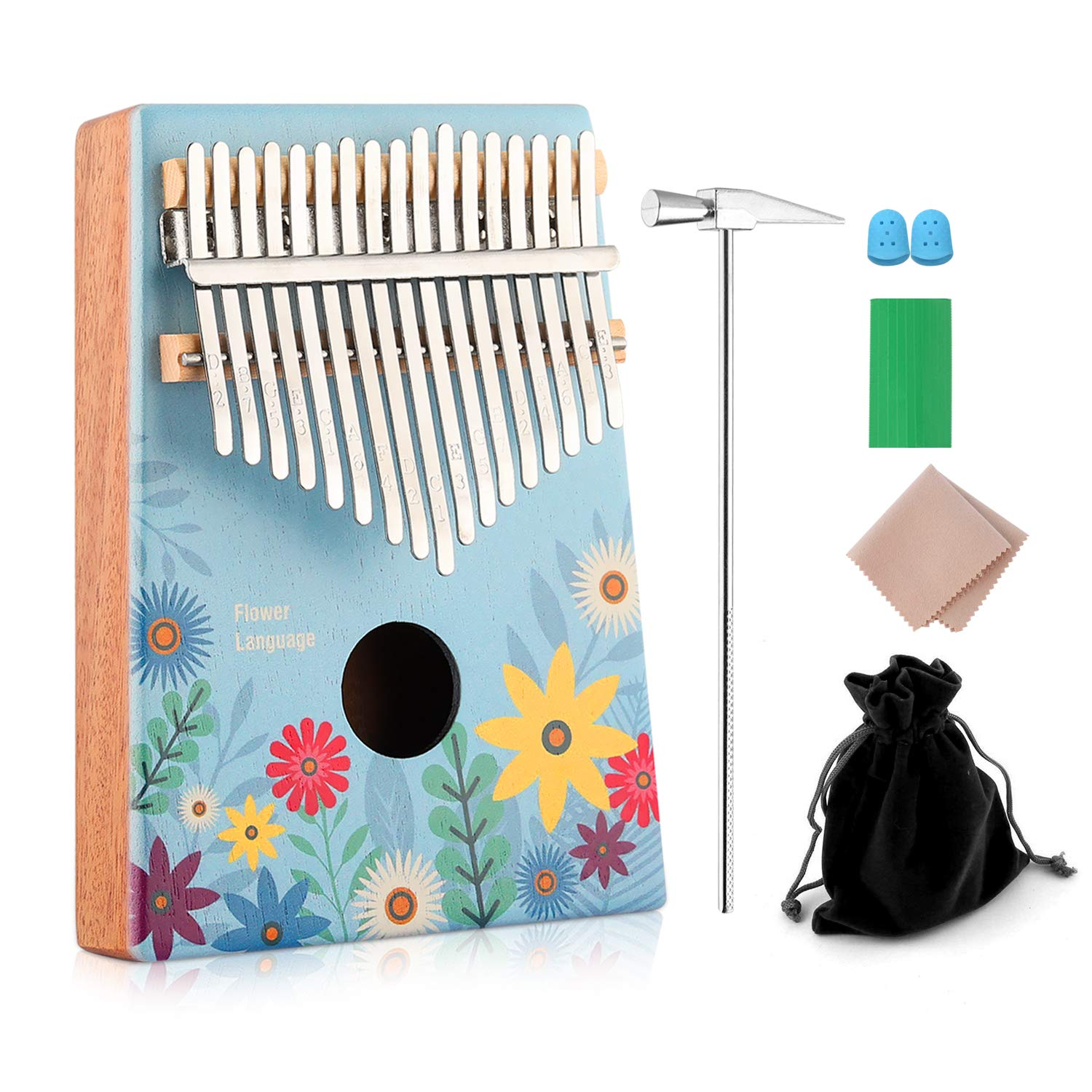 Kalimba 17 key Thumb Piano Finger Piano with Cloth Tuning Kit Hammer, Study Instruction Song Book, Hot Gift for Christmas 2018 Birthday Gifts for Kids, Children, Girlfriend (Full Bloom)