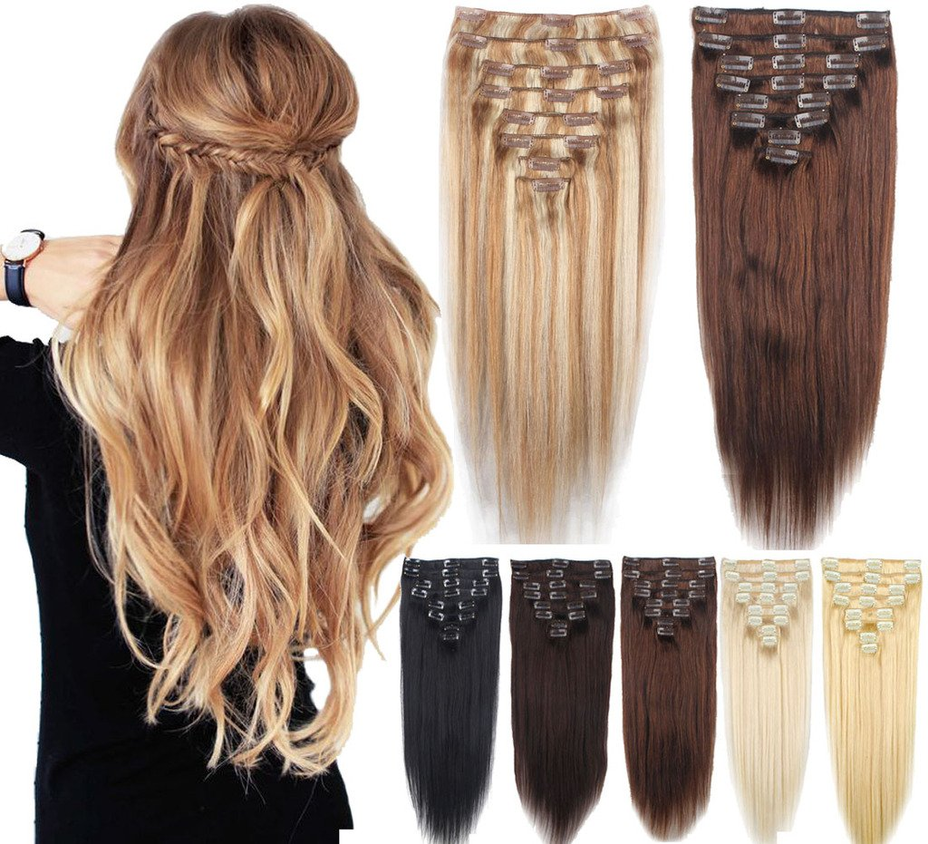 ab11725b8fa 8Pcs 20 Inch Standard Thick Weft 100% Real Human Hair Remy Hair Extensions  Clip In Extensions -...