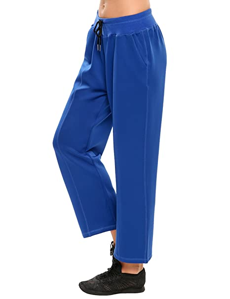 b6056e34e22bf8 Ekouaer Womens Jogger Sweat Pant Active Yoga Workout Drawstring Leggings  with Pocket,Dark Blue,