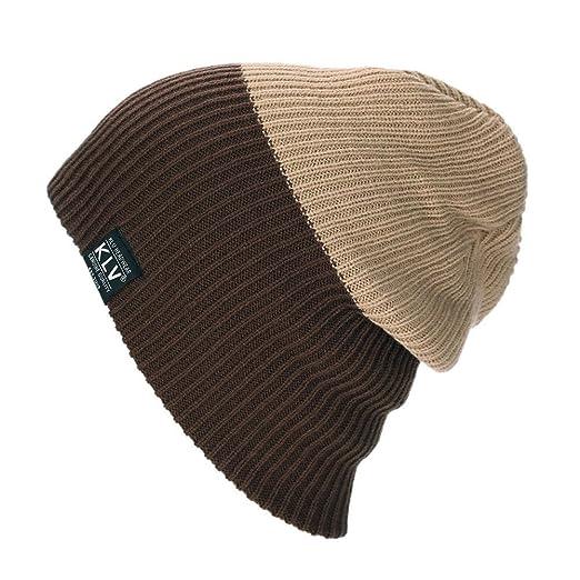 2054b303d79 Zadaro Fashion Women Men Warm Winter Baggy Beanie Knit Crochet Oversized  Hat Slouch Cap (Coffee