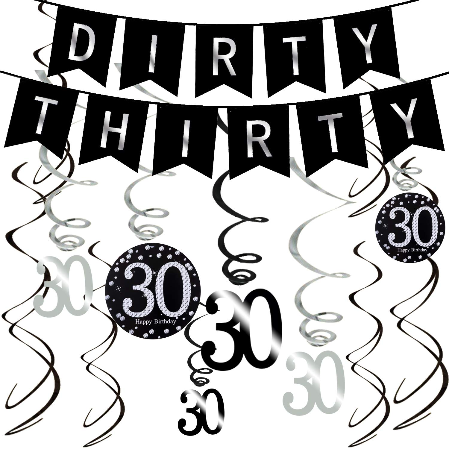 amazon ahaya 30th birthday decorations kit 50 pieces silver Bow Clear Background amazon ahaya 30th birthday decorations kit 50 pieces silver black dirty thirty banner 40 inch 30 balloons sparkling 30 hanging swirls