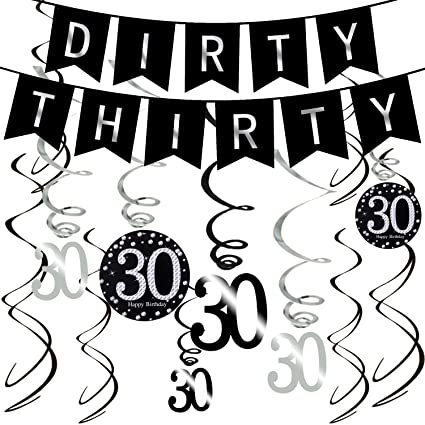 amazon ahaya 30th birthday decorations kit dirty 30 birthday Banner No Background ahaya 30th birthday decorations kit dirty 30 birthday party supplies black and silver dirty