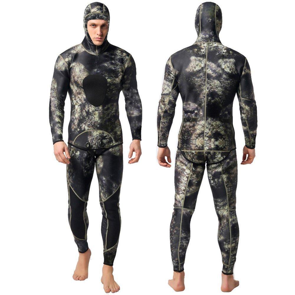 Sportmars Man Spearfishing Camouflage Wetsuits 3mm Neoprene 2-Pieces Hoodie Snorkeling Full Suits