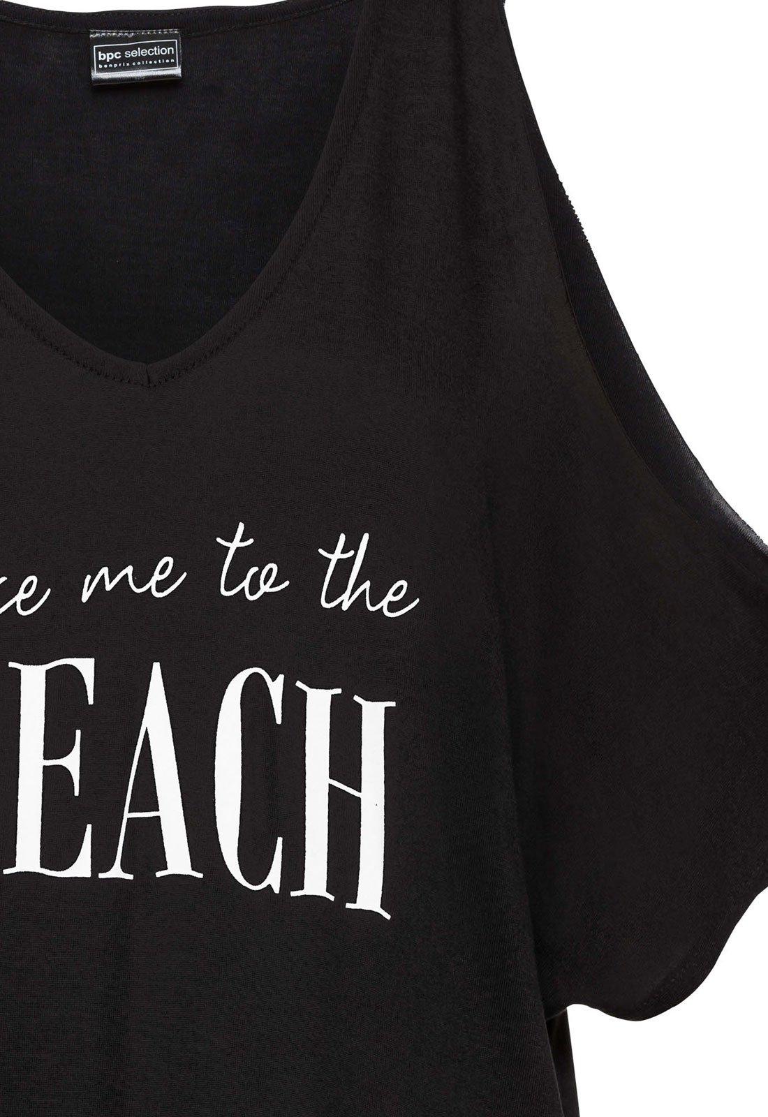 Rainlover Womens Letters Print Baggy Swimwear Bikini Cover-ups Beach Dress (BB-Black) by Rainlover (Image #5)