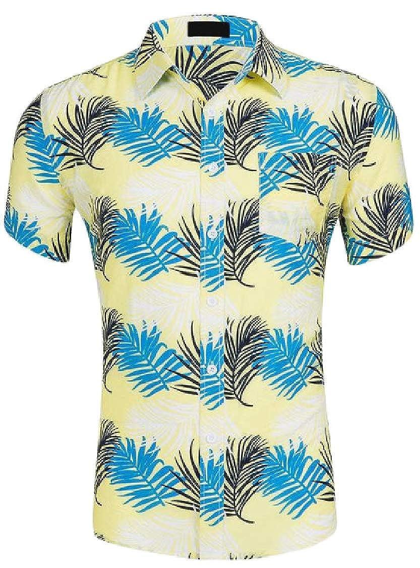 Lutratocro Mens Print Summer Holiday Hawaii Button Up Short Sleeve Shirts