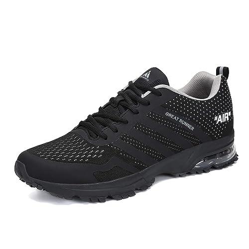 092ac6d95c12c2 Laufschuhe Damen Sneaker Herren Freizeit Turnschuhe Leichte Rutschfeste  Atmungsaktive Sportschuhe Mesh Schuhe Männer Frauen Schwarz 37