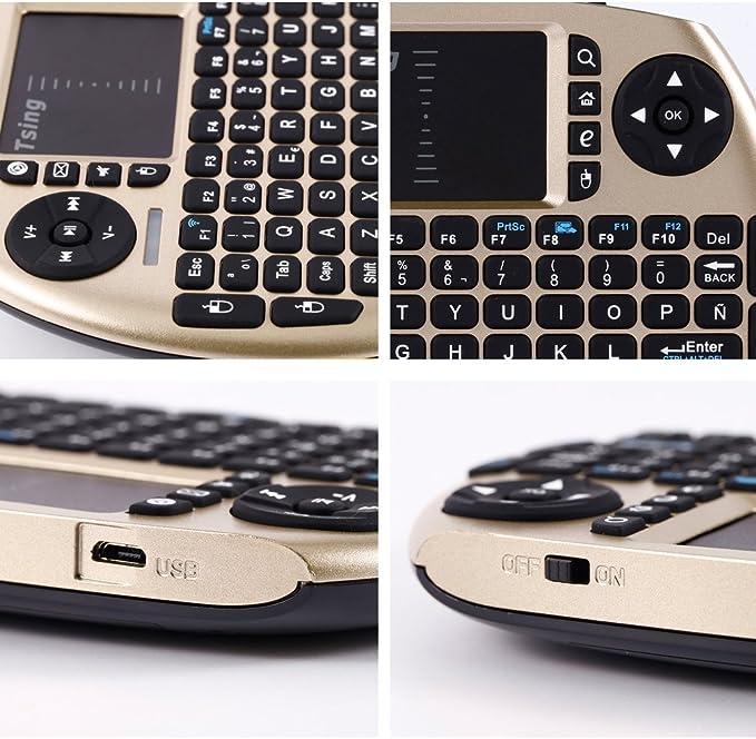 Tsing Mini Teclado Inalámbrico 2.4GHz (Disposición en Español) con ratón touchpad (Oro): Amazon.es: Electrónica