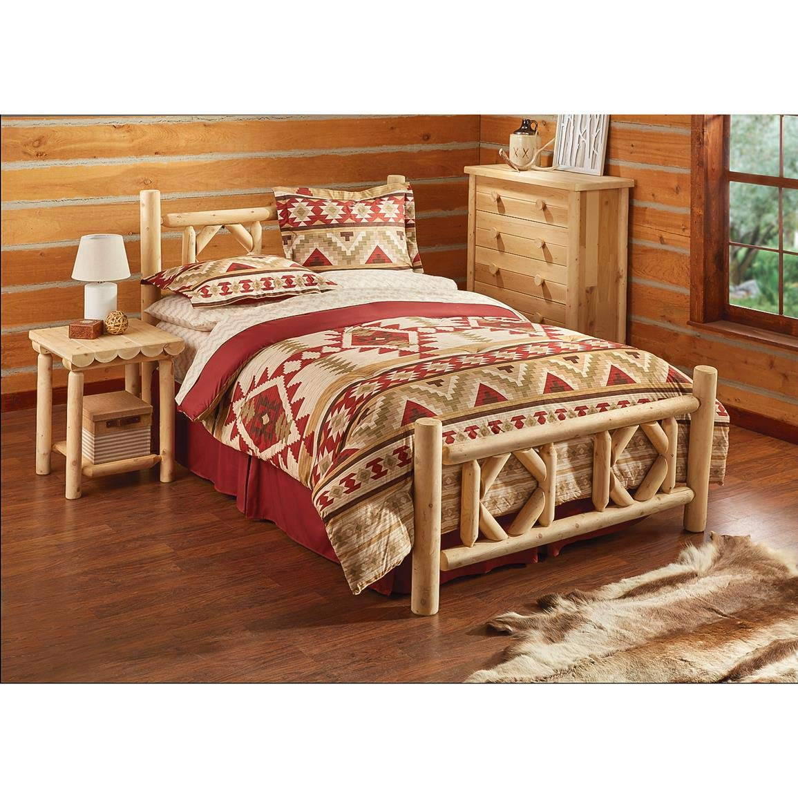 CASTLECREEK Diamond Cedar Log Bed, Queen