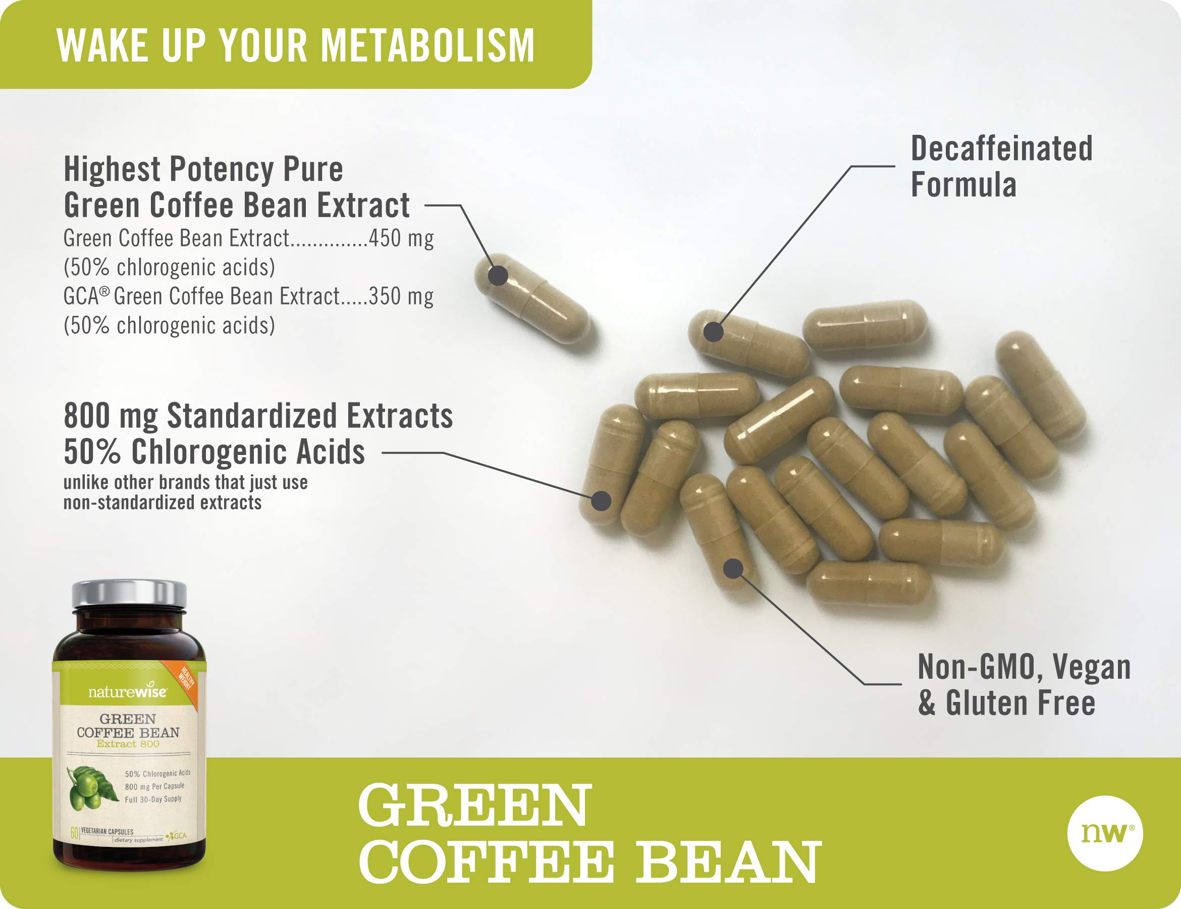 NatureWise Green Coffee Bean 800mg Max Potency Extract 50% Chlorogenic Acids | Raw Green Coffee Antioxidant Supplement & Metabolism Booster for Weight Loss | Non-GMO, Vegan, Gluten-Free [2 Month] by NatureWise (Image #5)