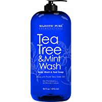 MAJESTIC PURE Tea Tree Oil Body Wash with Mint -Shower Gel Body SoapFights Body Odor, Athlete's Foot, Jock Itch, Ringworm & Skin Irritations - for Women and Men - 16 fl oz
