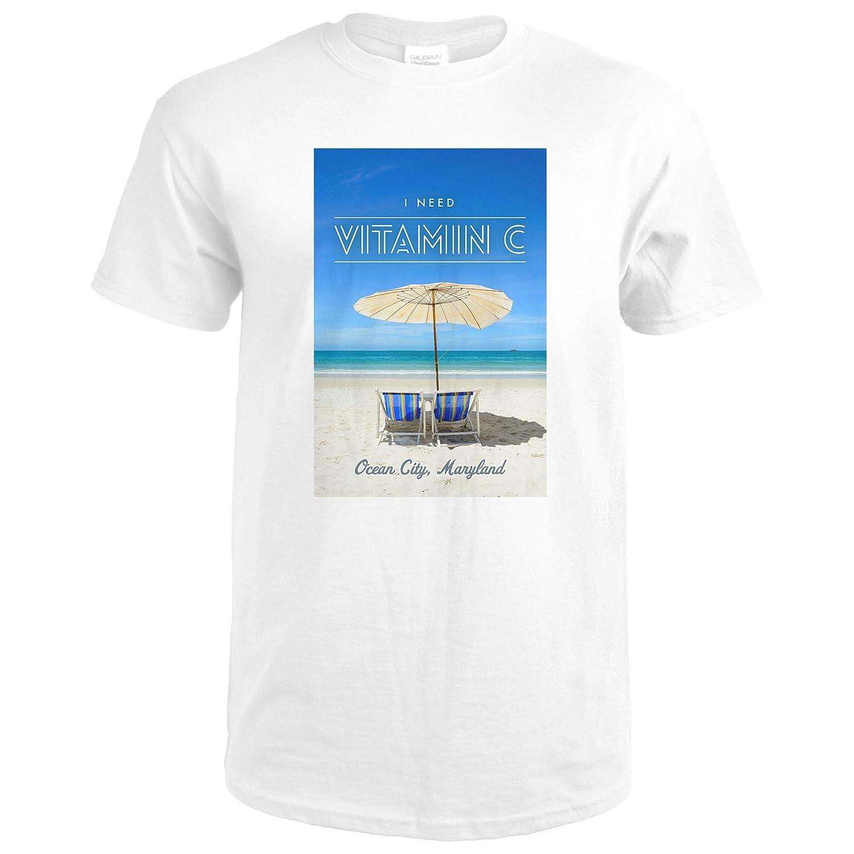 Ocean City, Maryland - I Need Vitamin C - Beach Chairs and Umbrella 89094 (Premium White T-Shirt XX-Large)