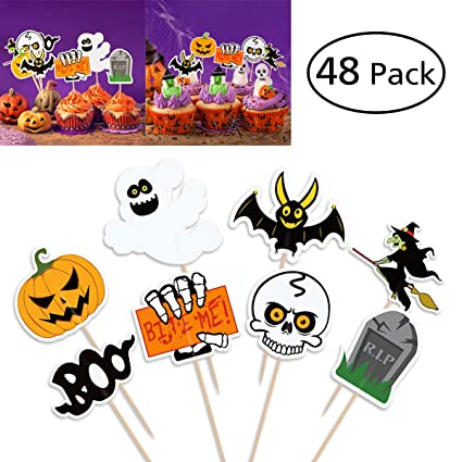 BESTONZON 48 Pz Halloween Party Cupcake Toppers Picks Decorazioni Halloween  Mini Zucca Ragno Fantasma Pipistrelli per b6773c6ed113