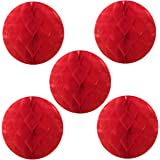 """Wrapables Tissue Honeycomb Ball Party Decorations for Weddings, Birthday Parties, Baby Showers and Nursery Decor (Set of 5), 6"""", Red"""