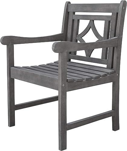 Vifah V1826 Renaissance Outdoor Patio Diamond Hand-Scraped Hardwood Dining Armchair, Gray